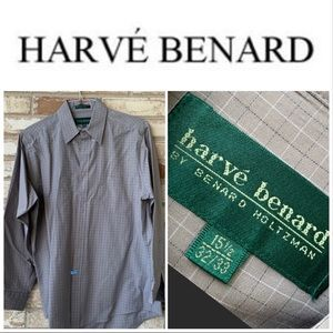 Medium 15.5, 32-33 Harve Bernard LS Gray Shirt